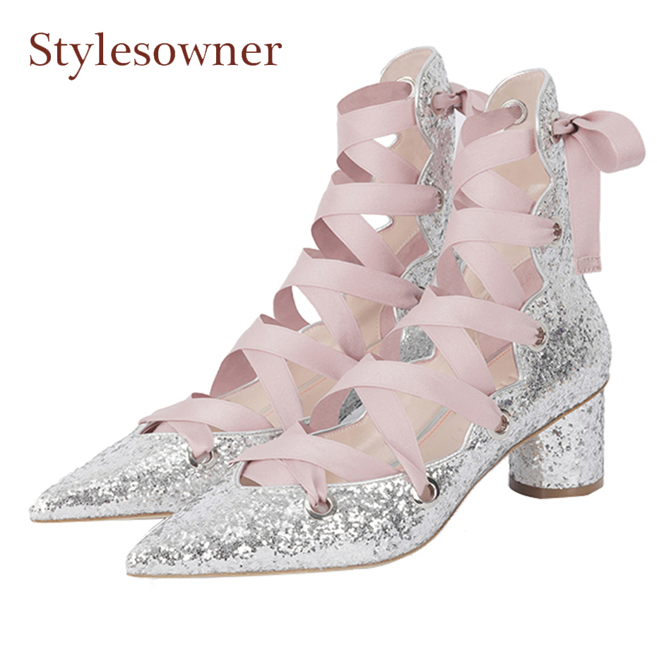 Stylesowner bling bling front lace up hollow high toe women shoes silk cross tied chunky heep pointed toe ladies ballet shoes