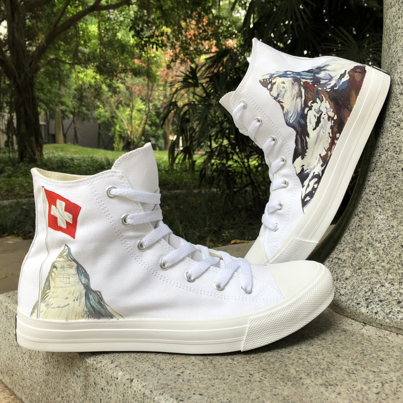 Wen Hand Painted Custom Shoes Switzerland Flag Alps Edelweiss Design High Top Athletic Shoes Women Men Canvas Sneakers Gifts men women converse puerto rico flag hand painted artwork high top canvas shoes unique sneakers
