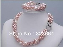 Hot Sell! Finery real freshwater pearl necklace Bracelet set