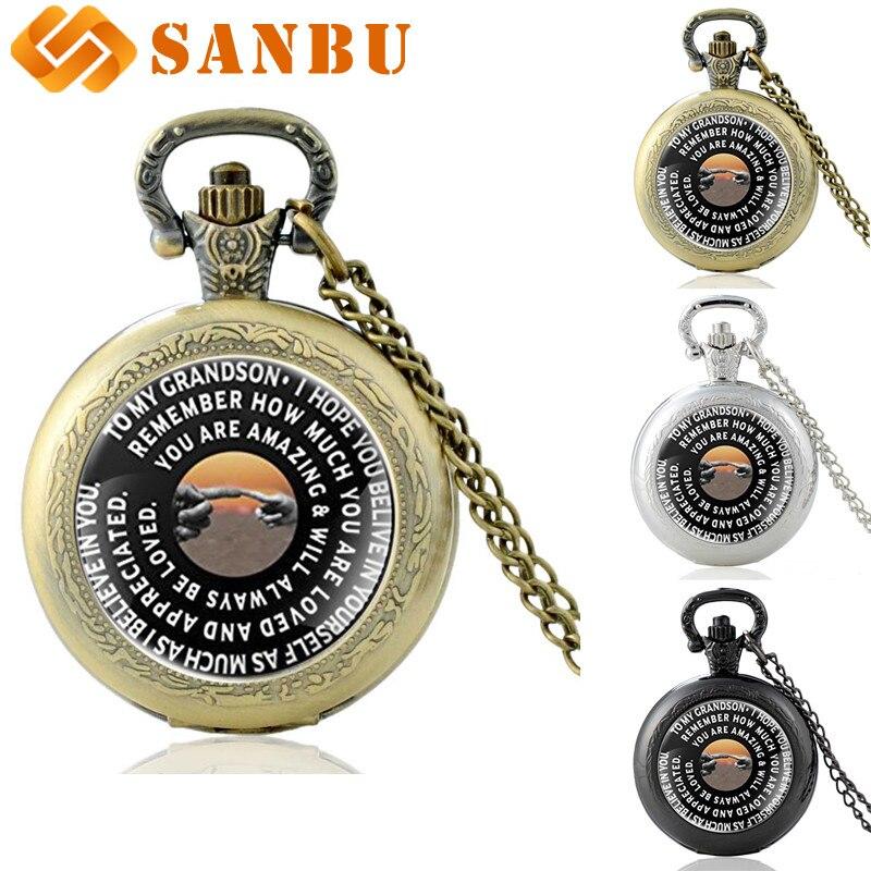 Personality Gift Watch For Grandson Vintage Bronze Quartz Pocket Watch