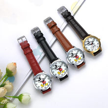 Original Disney Quartz Round Mickey Mouse Leather Band Watch