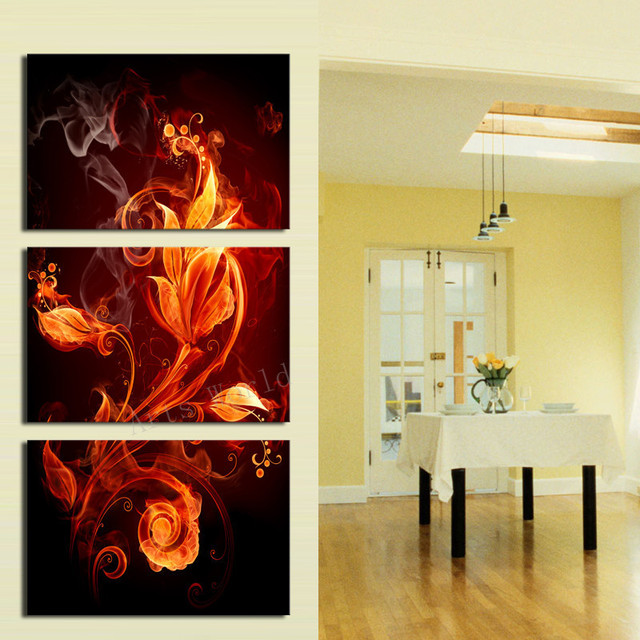 3 piece art oil canvas romantic wall art fire flower picture canvas ...