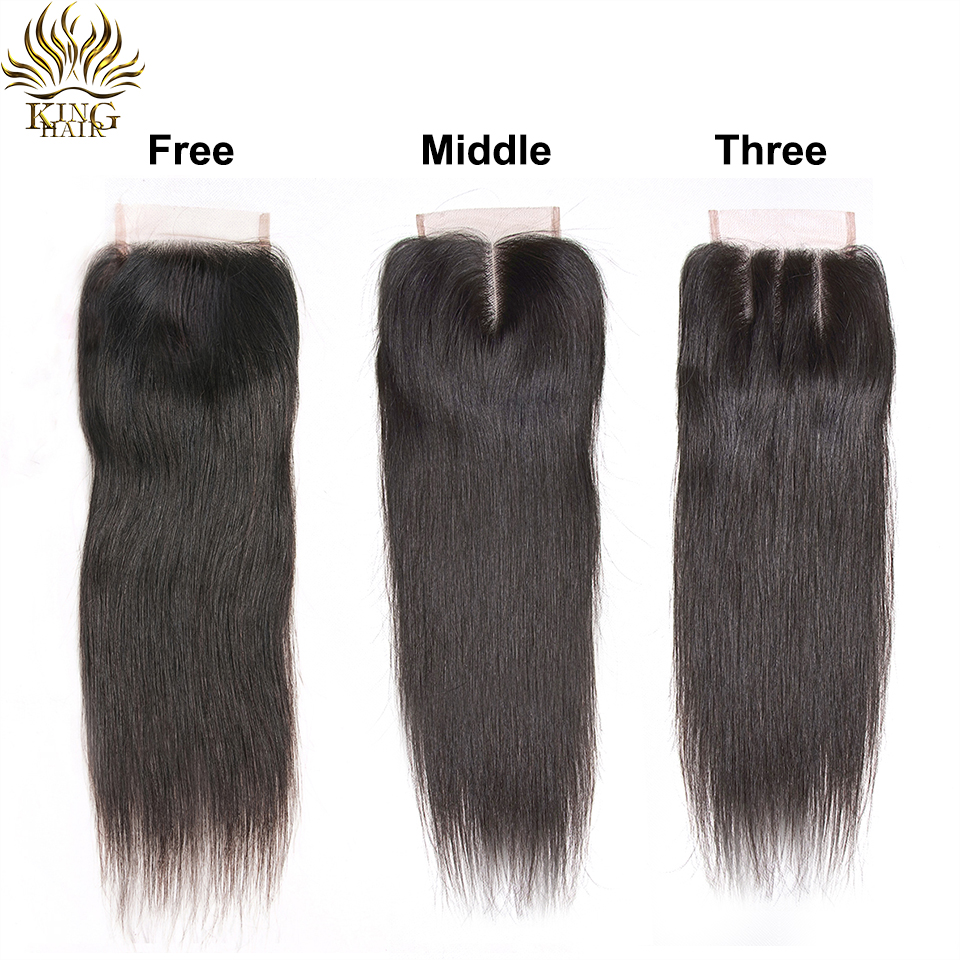 King Hair Brazilian Hair Straight 3 Bundles With Snap Closure 4PCS - Mänskligt hår (svart) - Foto 6