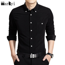 MarKyi fashion long sleeve flannel mens casual shirts plus size 5xl good quality mens dress shirts slim fit