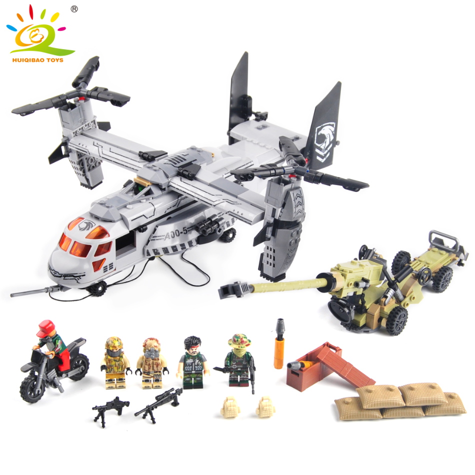640pcs Military Helicopter artillery Special forces army Building blocks compatible Legoed soldiers figures bricks children toys new fx3u 64ccl special function blocks
