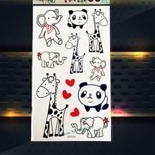 Animal Zoo Temporary Tattoo Sticker Kids Body Arm Tattoo Panda Elephant Giraffe Designs PGF629 Black Fake Cartoon Tattoo Sticker