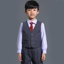 New Fashion costume for boy Grey Boy Blazer for Wedding Baby Boy Suit 3-Piece Coat+Vest+Pant Suits