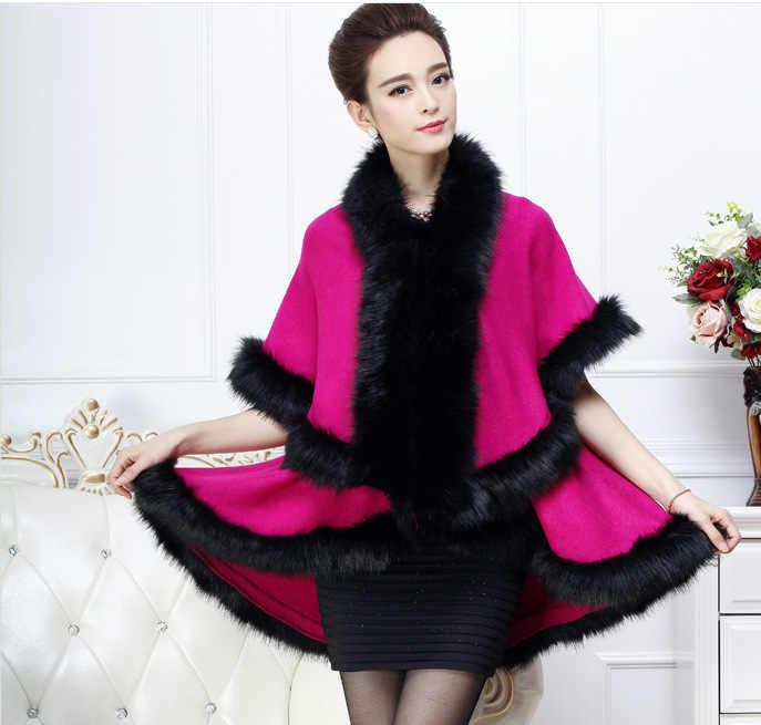 SC97 2018 зима теплый длинный вязаный 2 слоя пончо накидка синий кашемир свободный свитер женский искусственный мех Европейский кардиган пальто