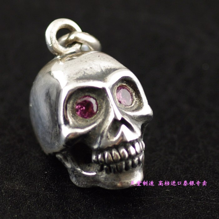 Thailand imports 925 sterling silver, pink eye three-dimensional Skull Pendant thailand imports skull blood new skeleton silver ring