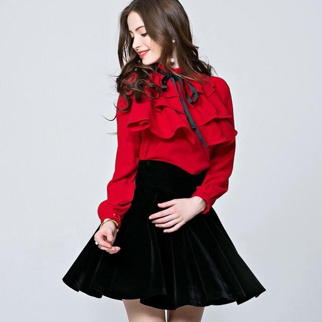 2385ea76df7ec9 High Quality 2016 Fashion New Autumn Runway Designer Shirts Women OL  Ruffles Bow Collar Long Sleeve Blouse Shirt Blusas OK