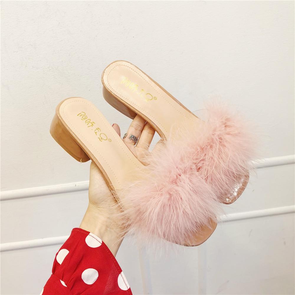 Furry Sandals Ostrich-Fur-Slippers Flip-Flops High-Heels Thick Women Med Patchwork Y631