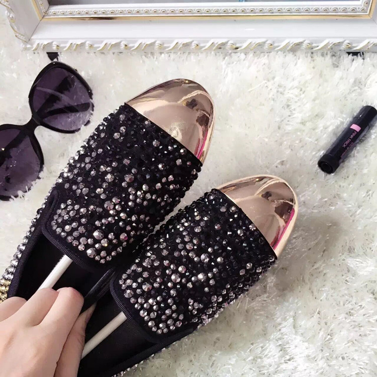 Crystal Embellished Flat Shoes Women 2018 Spring Autumn Slip on Loafers Gold Metal Toe Flat Dress Shoes High Quality Flats - 6