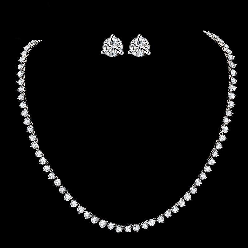 Ensemble de bijoux de luxe classique AAAAA CZ pour mariage mariée colliers de mariée boucles d'oreilles pour femmes bijoux cadeau d'anniversaire LX001S
