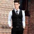 Индивидуальные черный формальный жилет мода смокинги groom жилет сплошной цвет однобортный пром ужин платье жилет