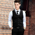 Tailor made black formal vest fashion groom tuxedos vest solid color single breasted prom party dinner dress vest