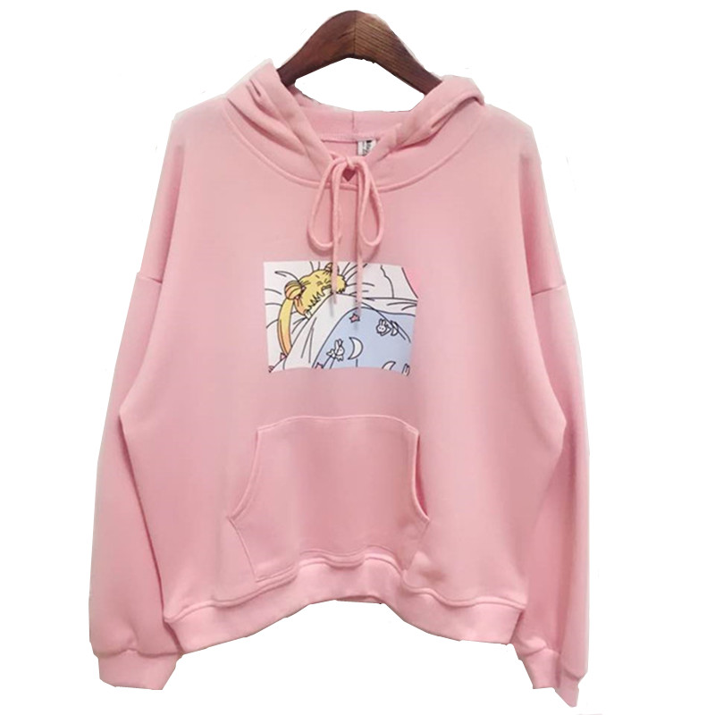 Wanita Hoodies Japanese Sailor Moon Printed Pullover Soft sister Gadis Kawaii Cute Harajuku Sweatshirt longgar Lengan Penuh Top