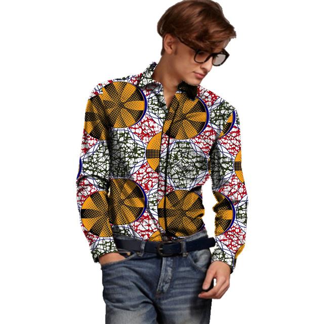 Africano de impresión de manga larga camisa de los hombres de moda diseño ropa de áfrica dashiki camisetas para el partido