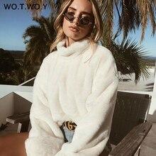 WOTWOY Thick Lambswool Winter Jacket Women Faux Fur Wool Coats Women Outerwear Warm Back Zippers Crop Teddy Jackets Women 2018