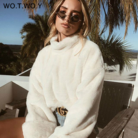 WOTWOY Thick Lambswool Winter Jacket Women Faux Fur Wool Coats Women Outerwear Warm Back Zippers Crop Teddy Jackets Women 2018