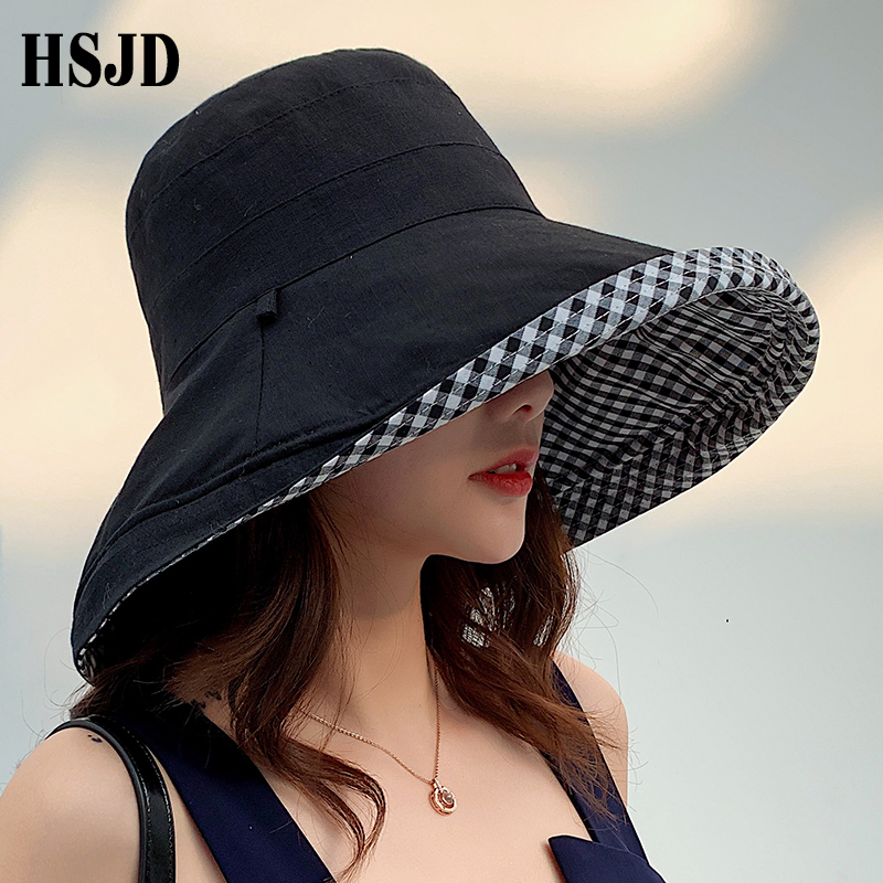 Summer Women Double-sided Cotton Linen Plaid Sun Hat Elegant Big Wide Brim Foldable Anti-UV Beach Sun Floppy Hats Flat Caps Bob