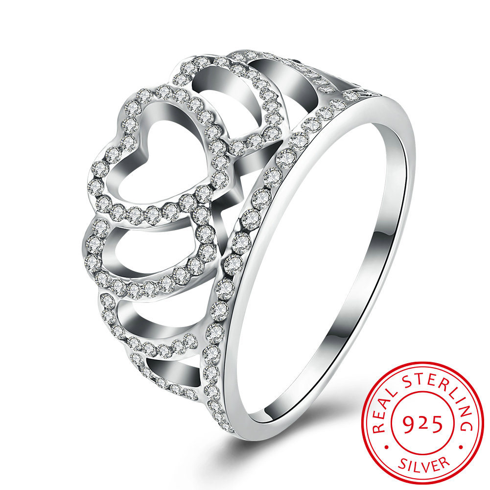 Ann & Snow 100% 925 Sterling Silver My Princess Queen Crown Engagement Ring  For Women