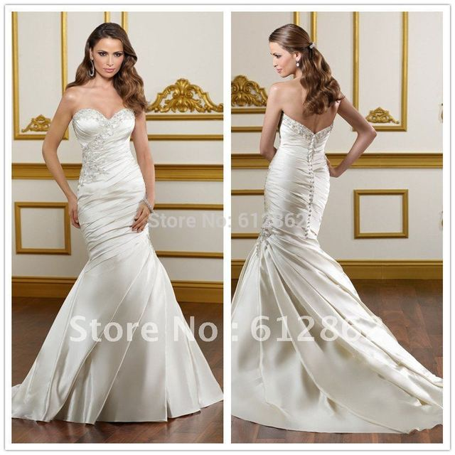 Elegant Sweetheart Beaded Lace Pleated Satin Sweep Train Mermaid Quick Delivery Wedding Dresses