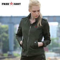 FREE ARMY Brand Autumn Green Jacket Women Coat Twill Cotton Female Jacket Casual Embroidery Slim Bomber Jackets For Women