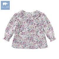 DB6022 dave bella outono infantil meninas do bebê floral camisa dos miúdos 100% algodão blusas da moda tops crianças de alta qualidade