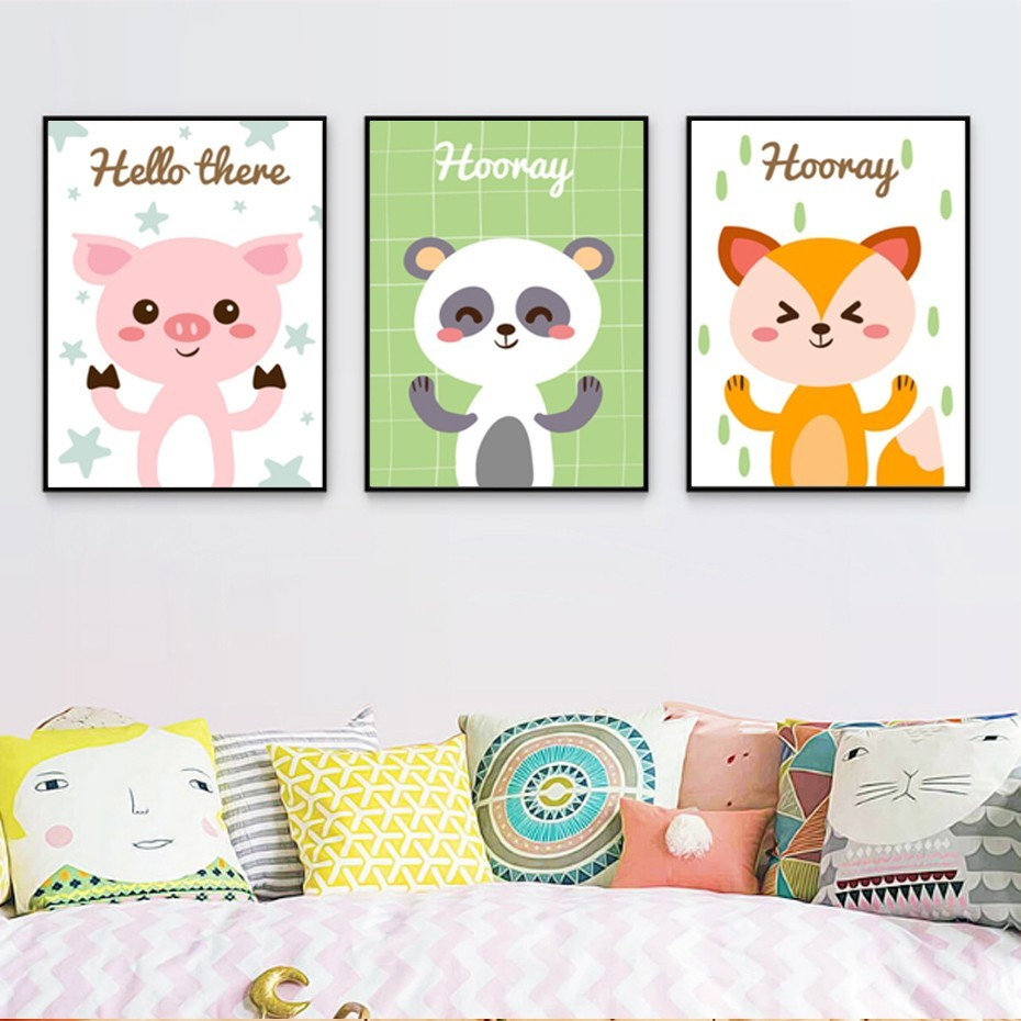 Europe Modern Lovely Cartoon Animals Poster Canvas Paintings Print Wall Art Pictures for Kids Room Home Decorations
