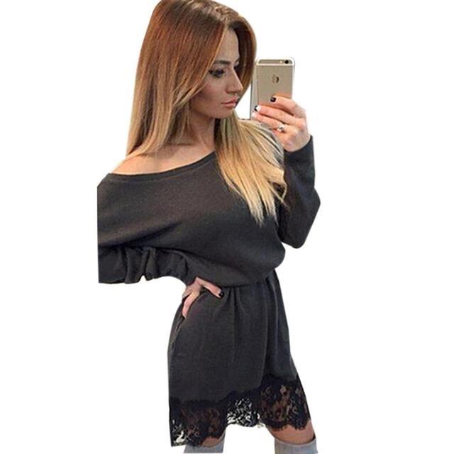 7030e002e224 Casual Clubwear Off Shoulder Mini Dresses Khaki Formal Black Dresses With  Long Sleeve Gathered Sexy Bodycon Lace Women Dress