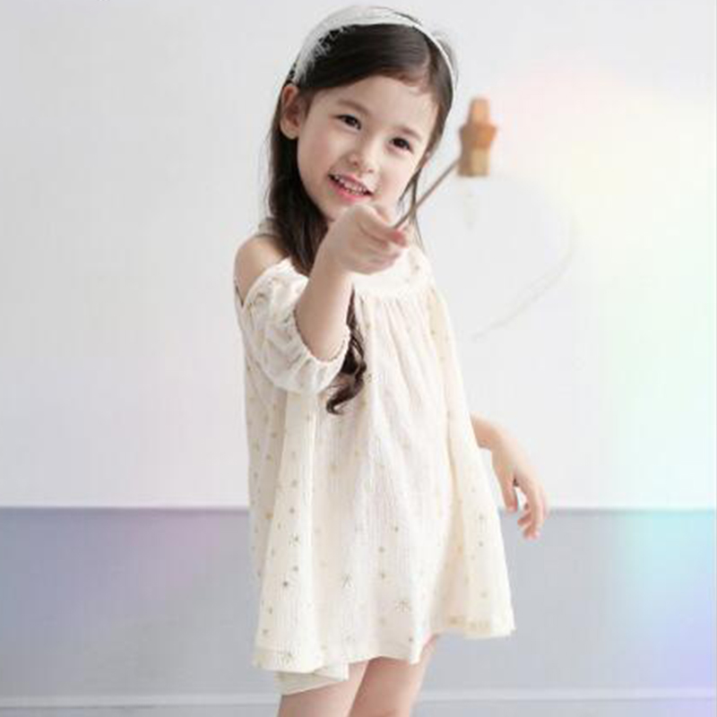 Cute Lolita Style Dresses for Girls Print Stars Summer Fashion Dress New Arrival 2017 Style 3 Colors Half Sleeve Kids Clothes