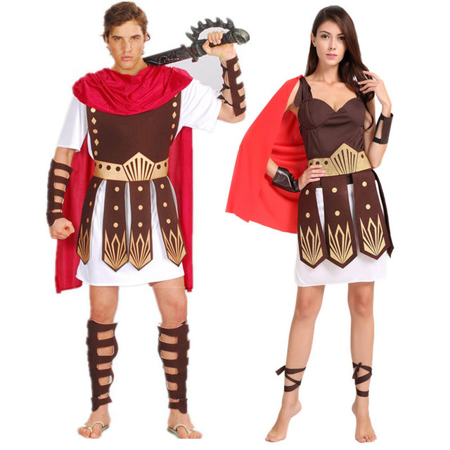 Charming Umorden Halloween Purim Adult Ancient Roman Greek Warrior Gladiator Costume  Knight Julius Caesar Costumes For Men