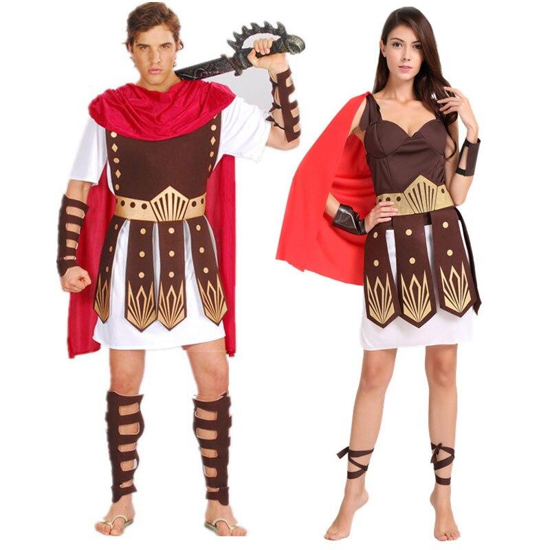 Umorden Halloween Purim Erwachsene Alte Roman Griechischen Krieger Gladiator Kostüm Ritter Julius Caesar Kostüme für Männer Frauen Paar