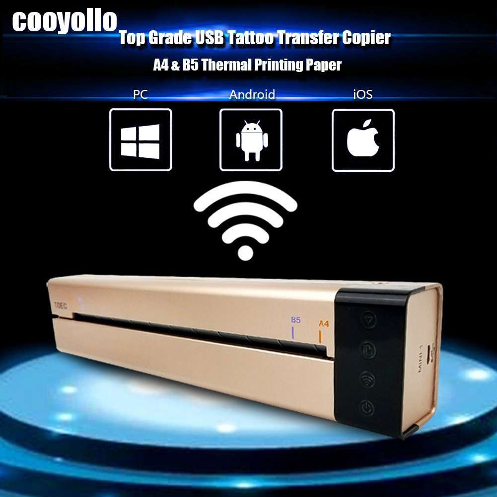2018 Top Grade USB Port Mini Tattoo Transfer Machine Set For APP PC WLAN Thermal Stencil Copier Transfer Paper Drawing Printer