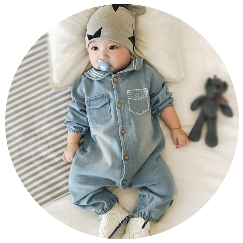 Fashion Jeans Sailor collar Baby clothes cowboy blue baby jumpsuit wood button baby clothing Top newborn baby boy clothes original 7 inch 163 97mm hd 1024 600 lcd for cube u25gt tablet pc lcd screen display panel glass free shipping