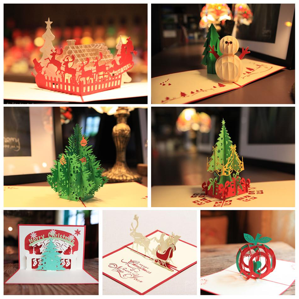 Handmade Christmas Greetings Cards Kirigami 3d Pop Up Card 7pcs Set