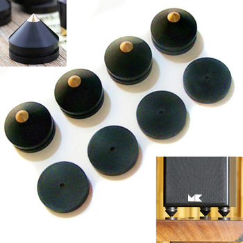 Mayitr 4pcs Black Speaker Spike 23mm Ebony Isolation Cone Wooden Copper Stand Feet +Base Pad For Speaker
