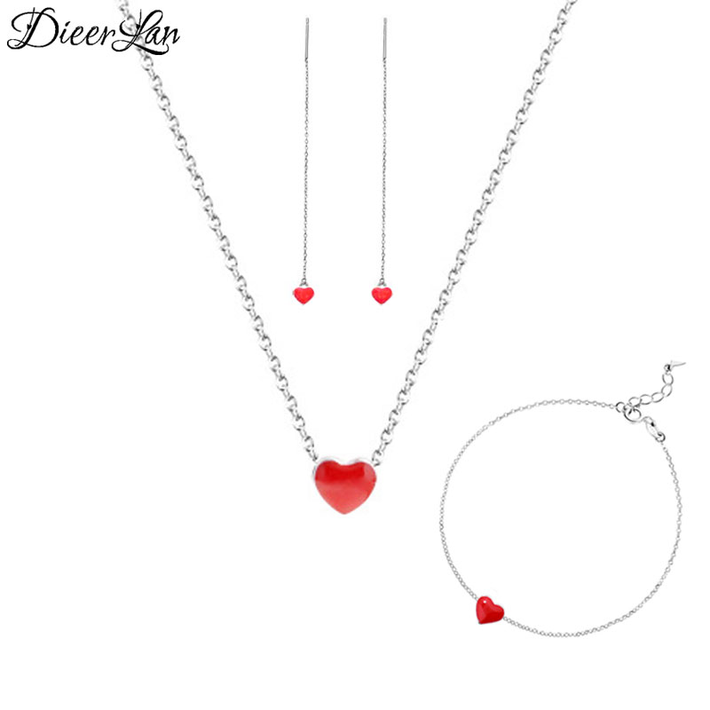 2018 Bridal Jewelry Sets 925 Sterling Silver Red Heart Earrings Bracelets Necklaces for Women Wedding Jewelry Statement Bijoux