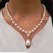 Женское ювелирное ожерелье 8 мм Круглый бисер Ярко-белый натуральный жемчуг в виде раковины Южно-морского моря 12 мм ожерелье с подвеской 18 ''45 см