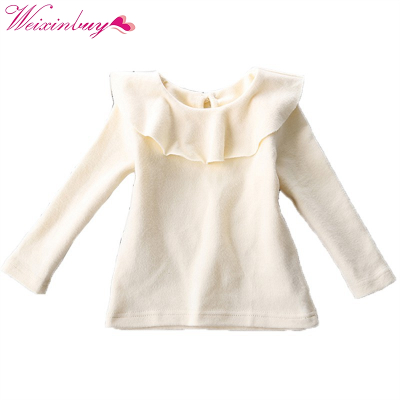 Kids Clothes O-Neck Long Sleeve Basic Cotton T-shirt Baby Girl Shirt Fashion Ruffle Pure Color For 0-24M casual scoop neck long sleeve solid color t shirt dress for women