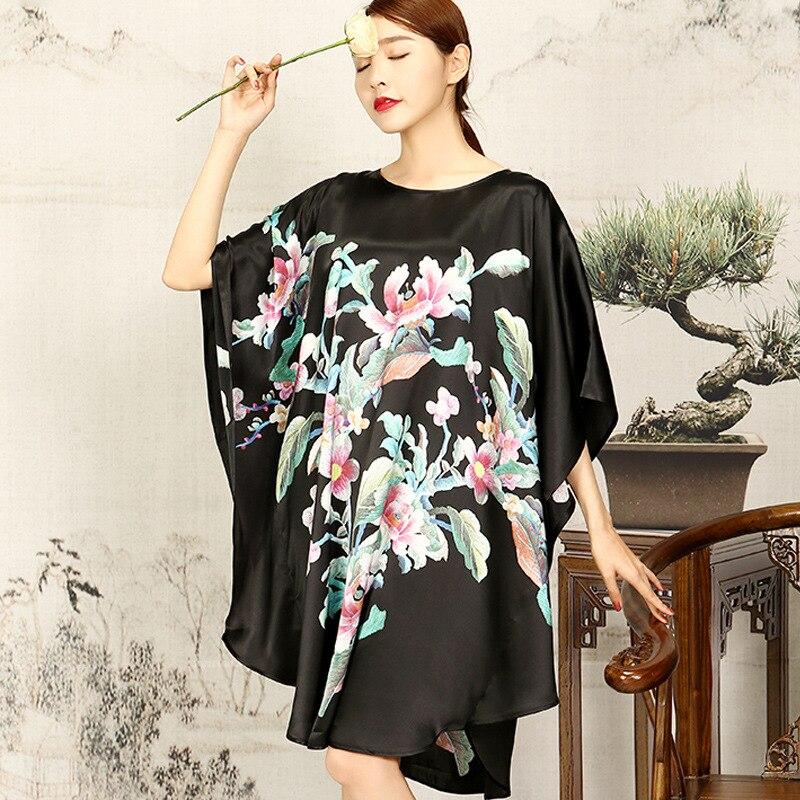 Silk Sleepshirts Plus Size 2018 Nightdress Women Sexy Sleepwear Knee Length Loose Fashion Flower Printed Female Nightgown Dress