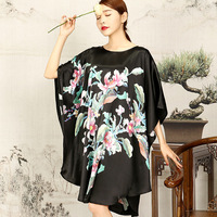 Silk Sleepshirts Plus Size 2019 Nightdress Women Sexy Sleepwear Knee Length Loose Fashion Flower Printed Female Nightgown Dress