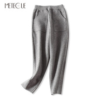 Thick Warm Big Pockets Design Woman Knitted Harem Pants Casual Loose Elastic Waist Winter Pants Women Trousers Spring 2019