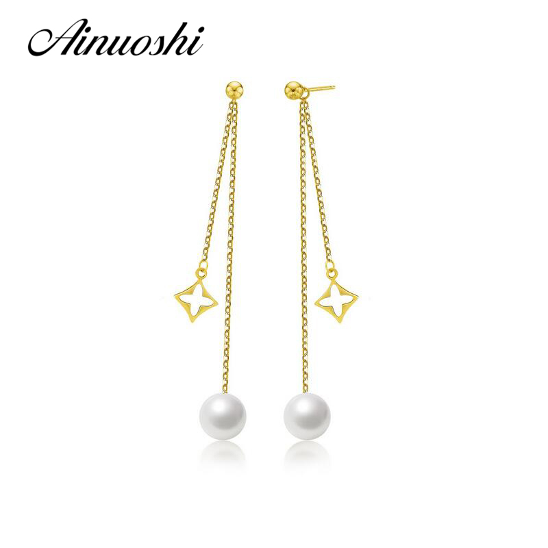 AINUOSHI 18K Yellow Gold Natural Cultured Freshwater Pearl Long Tassels Earrings Drop Dangle Earrings for Women Wedding Bijoux внешний накопитель 16gb usb drive