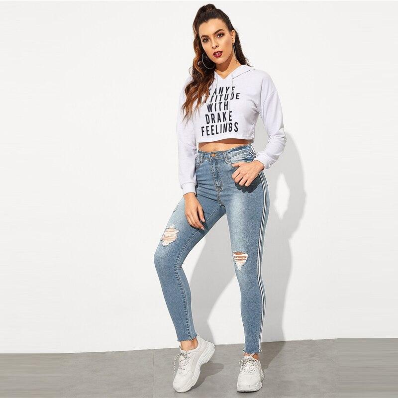 SweatyRocks Stripe Side Ripped Skinny Jeans Leisure Stretchy Long Denim Pants 19 Spring Women Streetwear Casual Blue Jeans 25