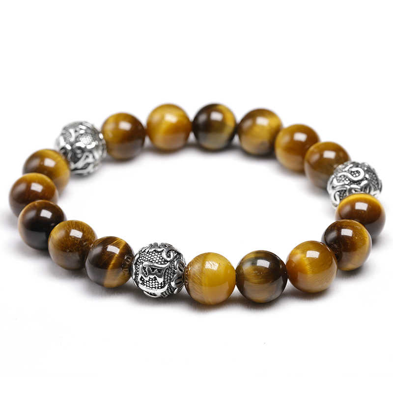 خرز عين النمر الطبيعي مع التبتية Om ماني بادمي هوم سوار 10 مللي متر مطرز بوذا تعويذة للرجال النساء عشاق المجوهرات