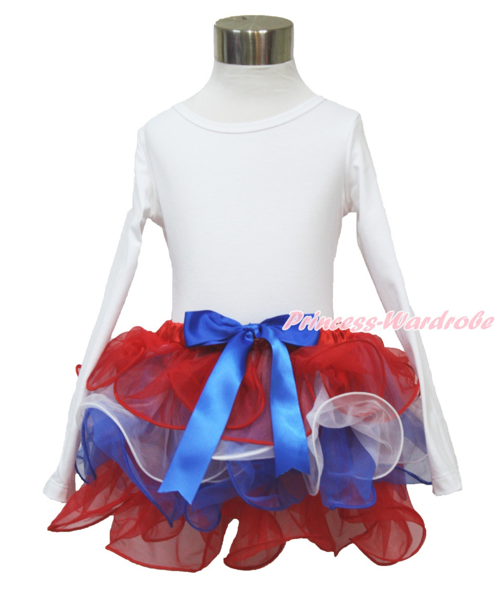 4th July Plain White Long Sleeves Pettitop Red White Blue Bow Petal Pettiskirt NB-8Year MAMH218 4th july america flag style stripe pettiskirt white ruffle tank top 2pc set 1 8year mamg1143