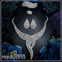 Hadiyana Amazing Design Fashion Collar Form Bridal Jewelry Necklace 4pcs Set Copper CZ Elegance Ladies Wedding Anniversary CN764