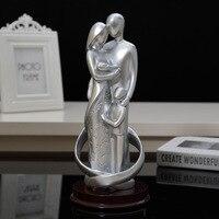 Moderno família ornamentos figuras abstratas escultura homem estátua obras de arte feminino figurinhas presente aniversário de casamento decoração para casa r806|Estátuas e esculturas|   -