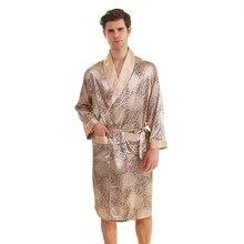 Плюс размер 3XL 4XL 5XL мужские кимоно халат летние атласные пижамы халат платье с принтом юката Ночная рубашка более размер Халат